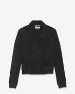 SAINT LAURENT Leather jacket U Black suede jacket with cutouts f