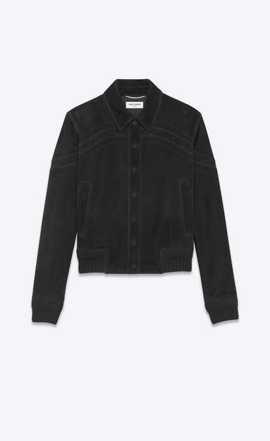 SAINT LAURENT Leather jacket Man Black suede jacket with cutouts a_V4