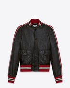 SAINT LAURENT Leather jacket U Varsity jacket in shiny black and red leather f