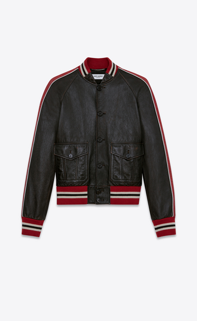 SAINT LAURENT Leather jacket U Varsity jacket in shiny black and red leather a_V4