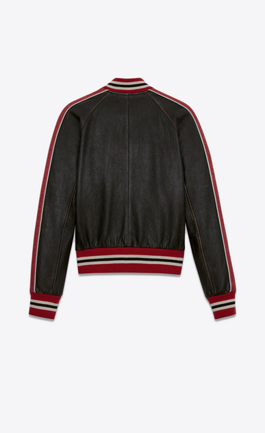 SAINT LAURENT Leather jacket U Varsity jacket in shiny black and red leather b_V4