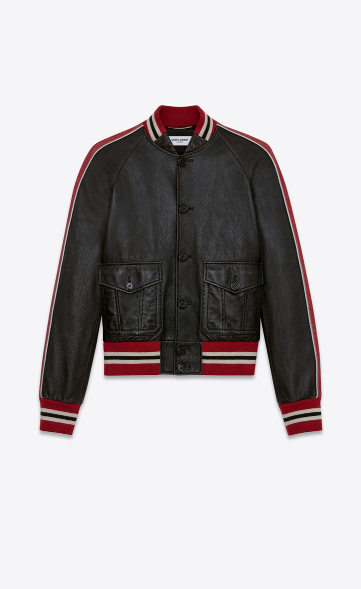 Saint Laurent Varsity Jacket In Shiny Black And Red Leather