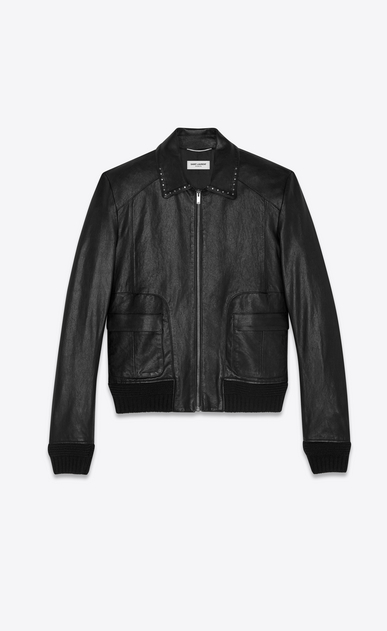 SAINT LAURENT Leather jacket Man Jacket with rounded pockets and studded collar in shiny black leather a_V4
