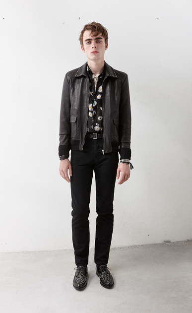 SAINT LAURENT Leather jacket Man Jacket with rounded pockets and studded collar in shiny black leather x_V4