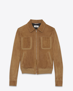 SAINT LAURENT Leather jacket U Jacket with patch pockets in tobacco suede f