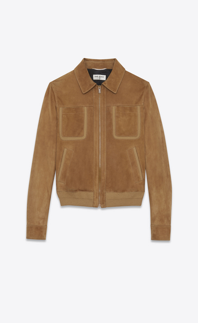 SAINT LAURENT Leather jacket Man Jacket with patch pockets in tobacco suede a_V4