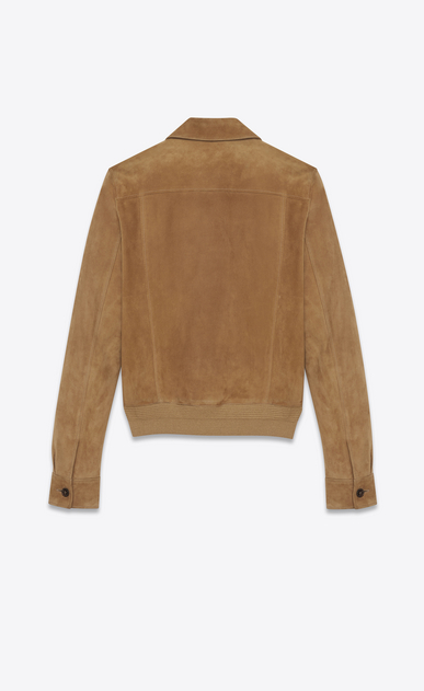 SAINT LAURENT Leather jacket Man Jacket with patch pockets in tobacco suede b_V4