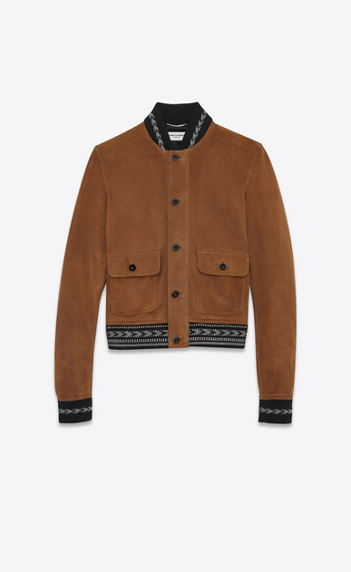 SAINT LAURENT Leather jacket Man Jacket in whiskey suede with IKAT ribbing a_V4