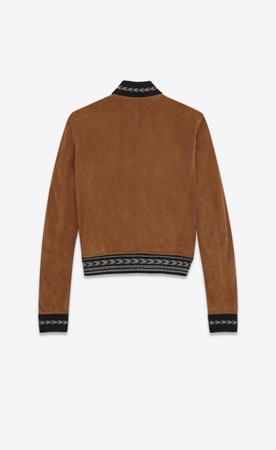 SAINT LAURENT Leather jacket Man Jacket in whiskey suede with IKAT ribbing b_V4