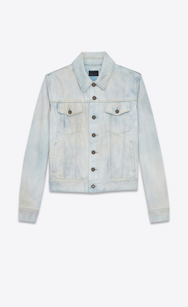 SAINT LAURENT Casual Jackets Man Jeans jacket in faded blue denim a_V4