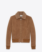 SAINT LAURENT Leather jacket U Aviator jacket in hazelnut shearling f