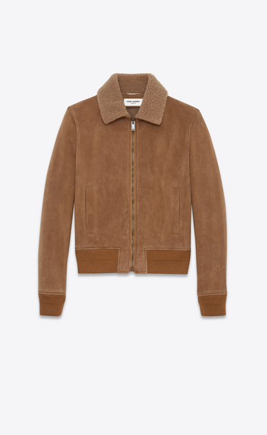 SAINT LAURENT Leather jacket Man Aviator jacket in hazelnut shearling a_V4