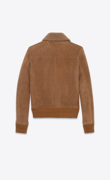 SAINT LAURENT Leather jacket Man Aviator jacket in hazelnut shearling b_V4