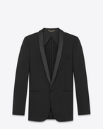 SAINT LAURENT Evening Jackets U Long jacket with zigzag stripes in black wool f