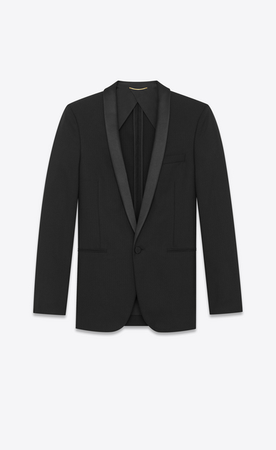 SAINT LAURENT Evening Jackets Man Long jacket with zigzag stripes in black wool a_V4