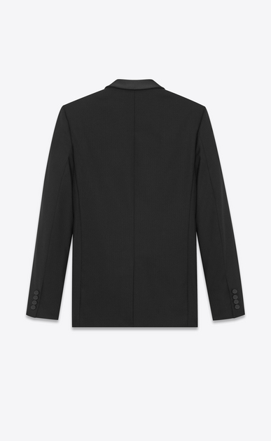 SAINT LAURENT Evening Jackets Man Long jacket with zigzag stripes in black wool b_V4