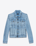 SAINT LAURENT Casual Jackets U Jeans jacket in faded blue denim with black spots f