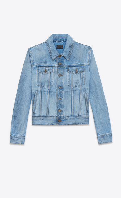 SAINT LAURENT Casual Jackets Man Jeans jacket in faded blue denim with black spots a_V4