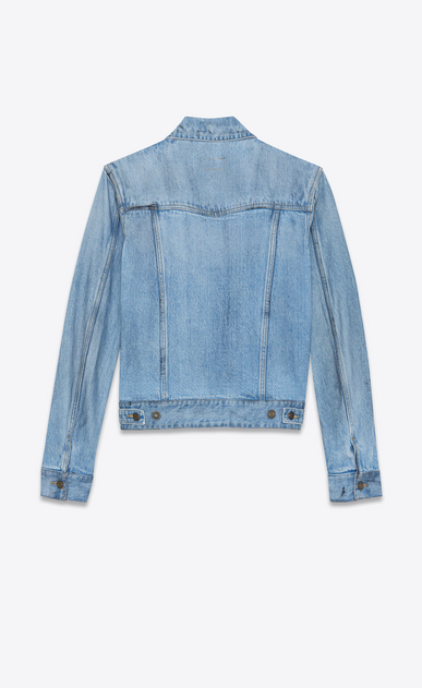 SAINT LAURENT Casual Jackets Man Jeans jacket in faded blue denim with black spots b_V4