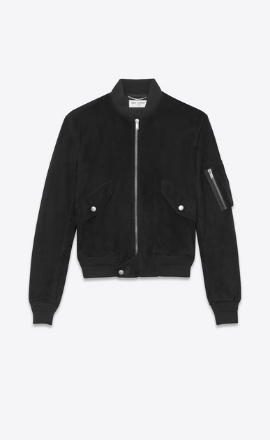 SAINT LAURENT Leather jacket Man Bomber jacket in black suede a_V4