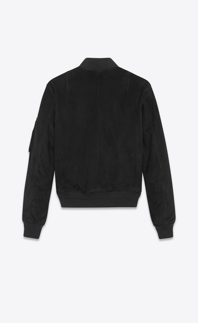 SAINT LAURENT Leather jacket Man Bomber jacket in black suede b_V4