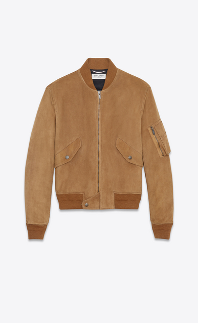 SAINT LAURENT Leather jacket Man Bomber jacket in tobacco suede a_V4