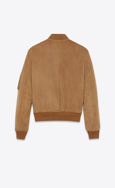 SAINT LAURENT Leather jacket Man Bomber jacket in tobacco suede b_V4