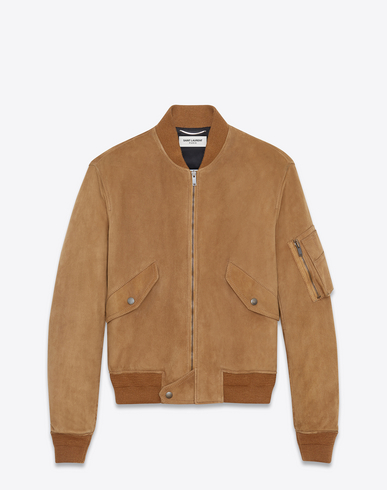 Bomber Jacket In Tobacco Suede