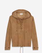 SAINT LAURENT Leather jacket U Laced hoodie in tobacco suede f