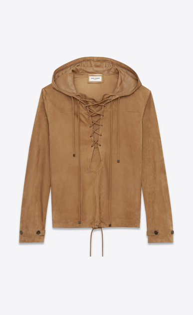 SAINT LAURENT Leather jacket U Laced hoodie in tobacco suede a_V4