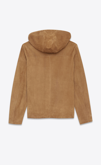 SAINT LAURENT Leather jacket Man Laced hoodie in tobacco suede b_V4