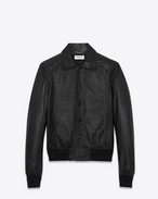 SAINT LAURENT Leather jacket U Short black leather jacket with lacing f