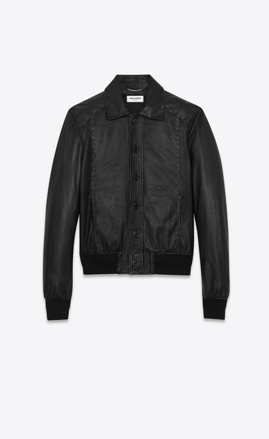SAINT LAURENT Leather jacket U Short black leather jacket with lacing a_V4