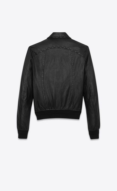 SAINT LAURENT Leather jacket Man Short black leather jacket with lacing b_V4