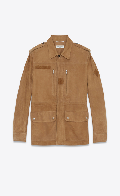 SAINT LAURENT Leather jacket Man Military parka in tobacco suede a_V4