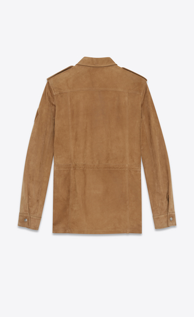 SAINT LAURENT Leather jacket Man Military parka in tobacco suede b_V4