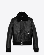 SAINT LAURENT Leather jacket U Bomber jacket in vintage black leather embroidered with HEAVEN f