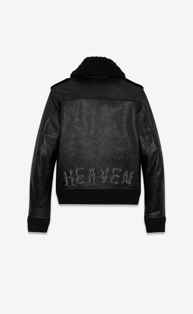 SAINT LAURENT Leather jacket U Bomber jacket in vintage black leather embroidered with HEAVEN a_V4