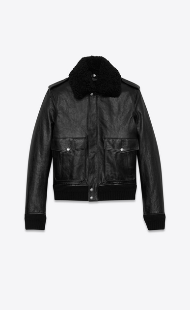 SAINT LAURENT Leather jacket Man Bomber jacket in vintage black leather embroidered with HEAVEN b_V4