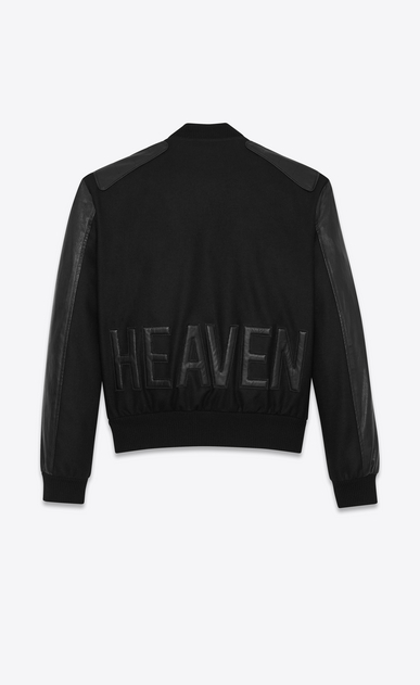 SAINT LAURENT Casual Jackets Man HEAVEN Varsity jacket in black felt. a_V4