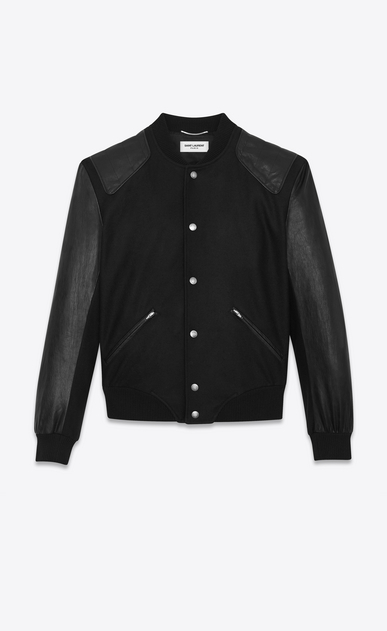 SAINT LAURENT Casual Jackets Man HEAVEN Varsity jacket in black felt. b_V4