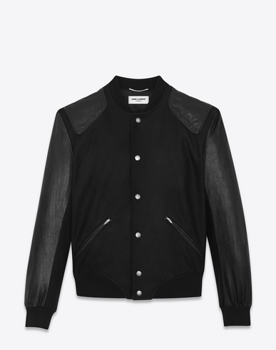 Teddy Virgin Wool Blouson With Leather Sleeves in Black