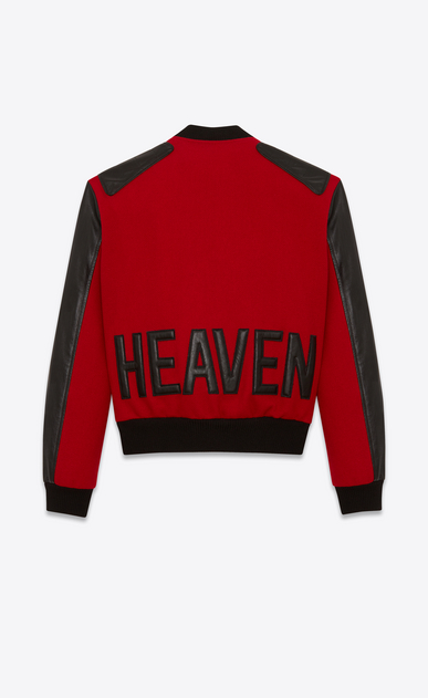SAINT LAURENT Casual Jackets Man HEAVEN Varsity jacket in red felt and black leather a_V4