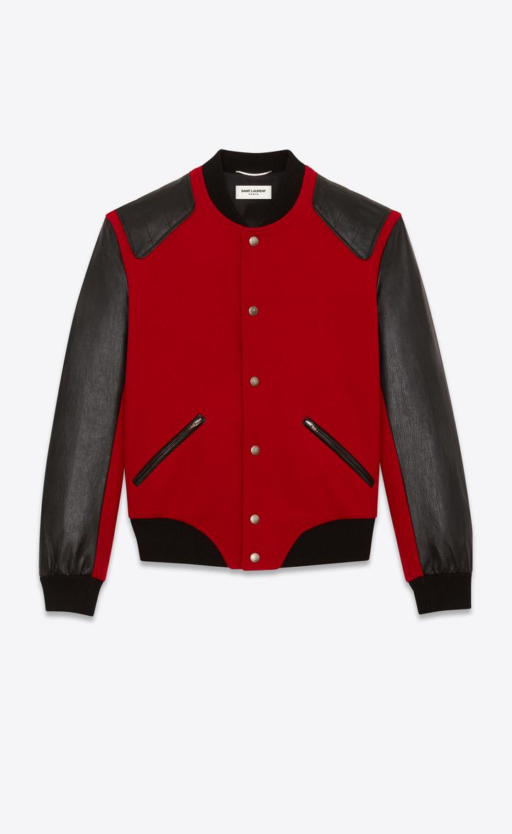 Saint Laurent Heaven Varsity Jacket In Red Felt And Black Leather