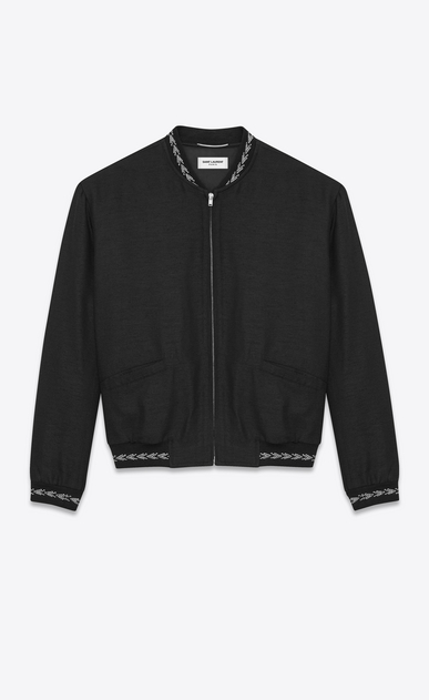 SAINT LAURENT Casual Jackets Man Varsity jacket with ikat patterns in black silk a_V4