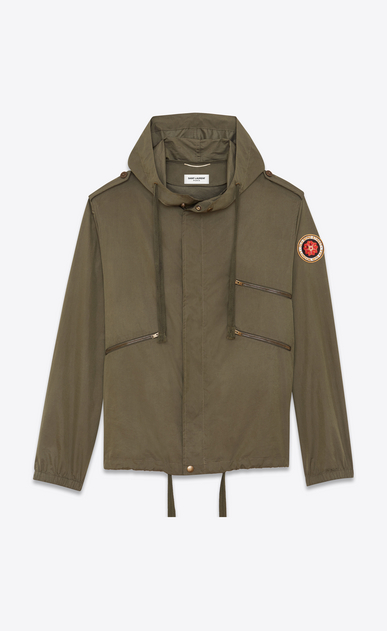 SAINT LAURENT Casual Jackets Man Windbreaker with badge in crinkled khaki nylon a_V4