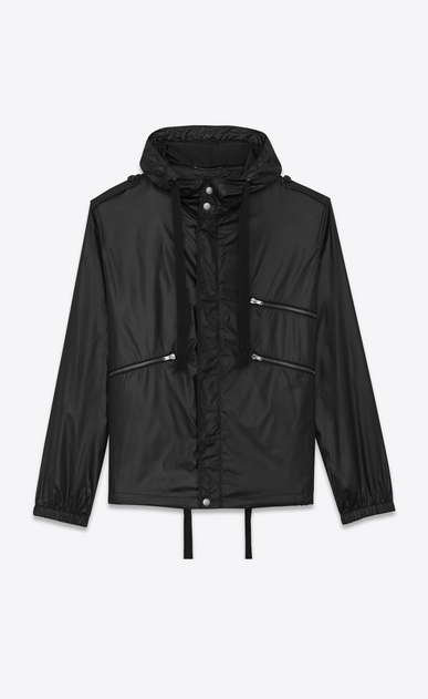 SAINT LAURENT Casual Jackets U Windbreaker in shiny black nylon a_V4