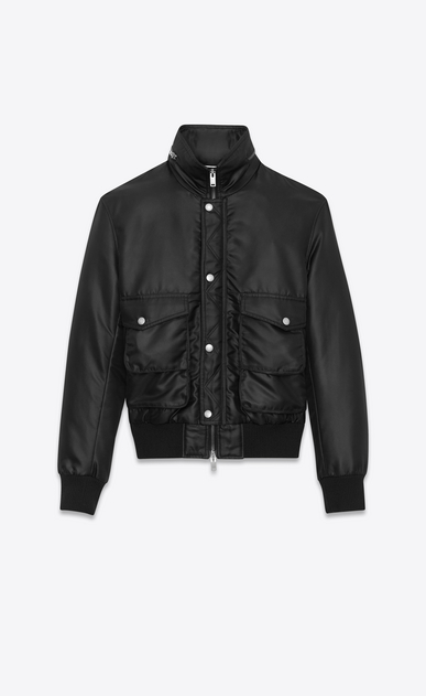 SAINT LAURENT Casual Jackets Man Multi-pocket bomber jacket in black nylon a_V4