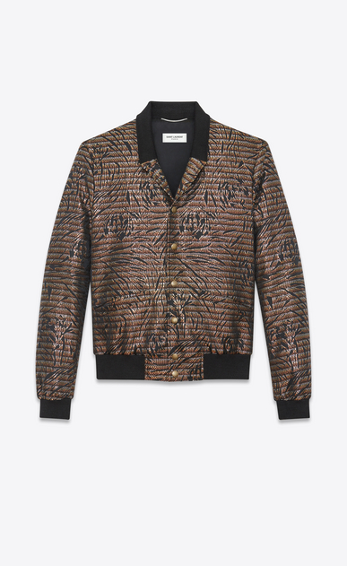 SAINT LAURENT Casual Jackets Man Varsity jacket with shawl collar in floral Lurex a_V4
