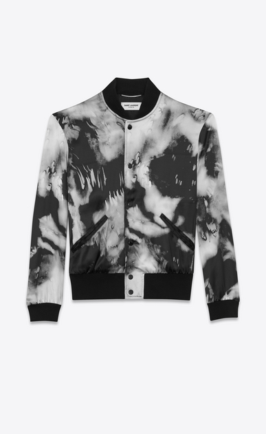 SAINT LAURENT Casual Jackets Man Tie-dye Varsity jacket in flowing black and gray satin a_V4